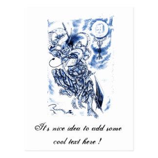 Cool Classic Japanese Demon tattoo Post Card