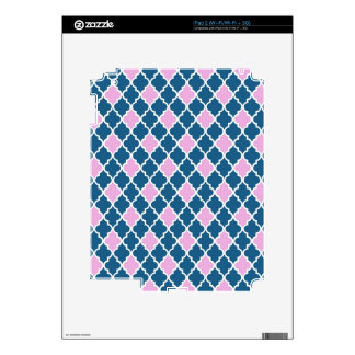 Cool, classic, modern, trendy pink and navy blue decals for iPad 2