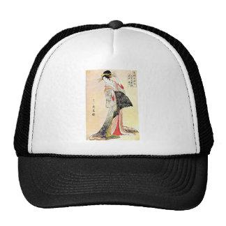 Cool Classic Oriental Japanese Geisha art Mesh Hats