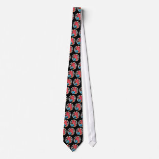 Cool classic tattoo red koi fish blue lotus dots neck tie