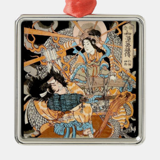 Cool classic traditional japanese woodprint art metal ornament
