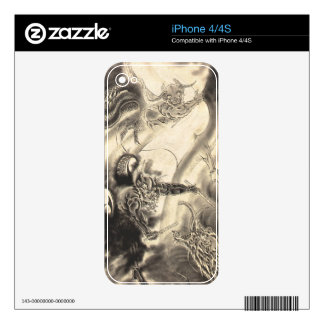 Cool classic vintage japanese demon dragon tattoo decal for the iPhone 4