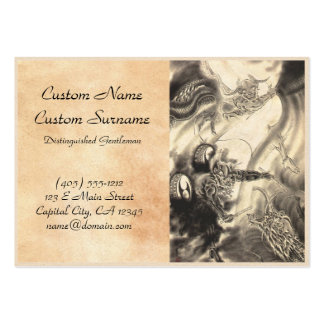 Cool classic vintage japanese demon dragon tattoo large business card