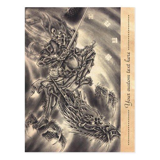 Cool classic vintage japanese demon dragon tattoo postcard