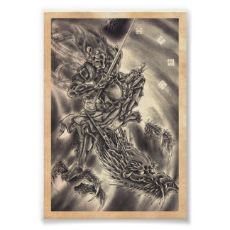 Cool classic vintage japanese demon dragon tattoo poster