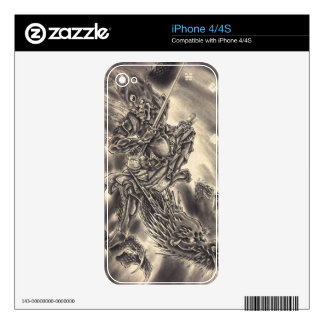 Cool classic vintage japanese demon dragon tattoo skin for iPhone 4S