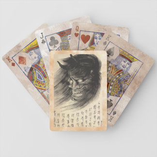 Cool classic vintage japanese demon head tattoo bicycle playing cards