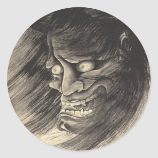 Cool classic vintage japanese demon head tattoo classic round sticker