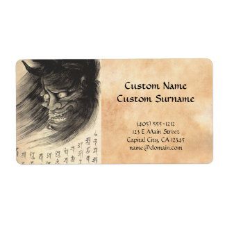 Cool classic vintage japanese demon head tattoo shipping labels