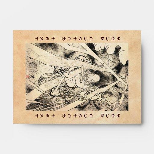 Cool classic vintage japanese demon ink tattoo envelopes