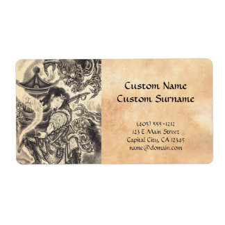 Cool classic vintage japanese demon ink tattoo shipping label