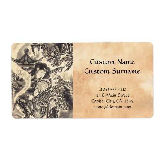 Cool classic vintage japanese demon ink tattoo label
