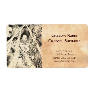 Cool classic vintage japanese demon ink tattoo custom shipping label