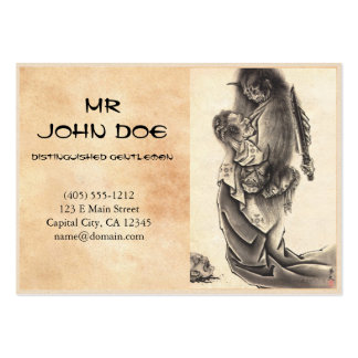 Cool classic vintage japanese demon ink tattoo large business card