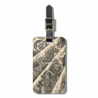 Cool classic vintage japanese demon ink tattoo travel bag tags