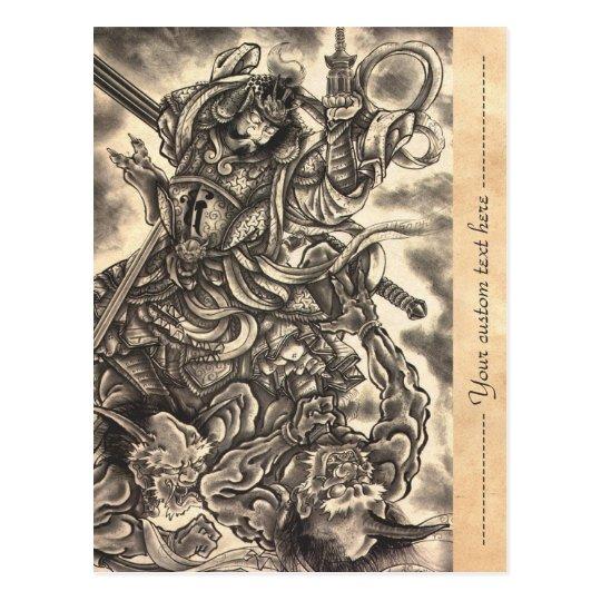 Cool classic vintage japanese demon ink tattoo postcard