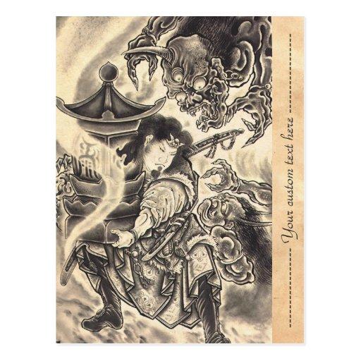 Cool classic vintage japanese demon ink tattoo postcards
