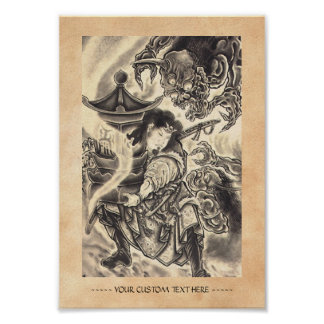 Cool classic vintage japanese demon ink tattoo poster