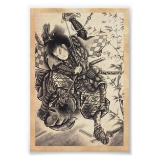 Cool classic vintage japanese demon ink tattoo print