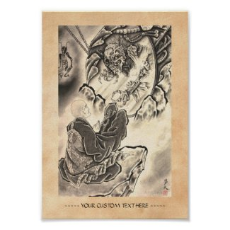 Cool classic vintage japanese demon monk tattoo print