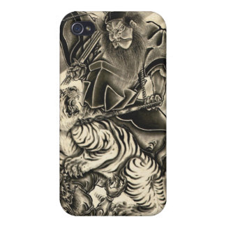 Cool classic vintage japanese demon samurai tiger case for iPhone 4