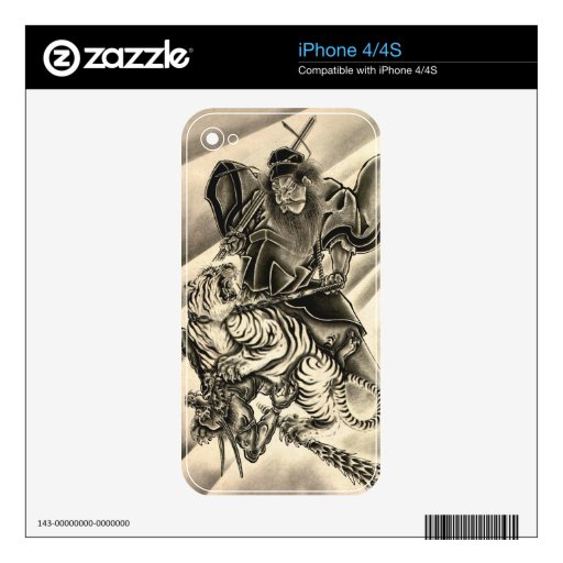 Cool classic vintage japanese demon samurai tiger decal for the iPhone 4