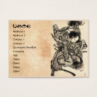 Cool classic vintage japanese samura demon fight business card