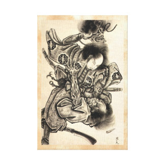 Cool classic vintage japanese samura demon fight canvas print