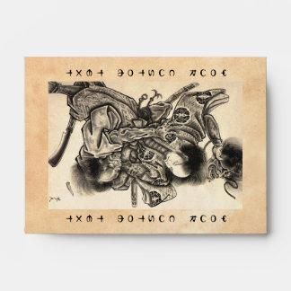 Cool classic vintage japanese samura demon fight envelope