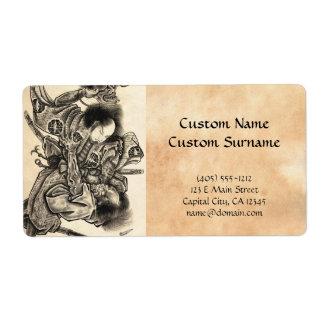 Cool classic vintage japanese samura demon fight label