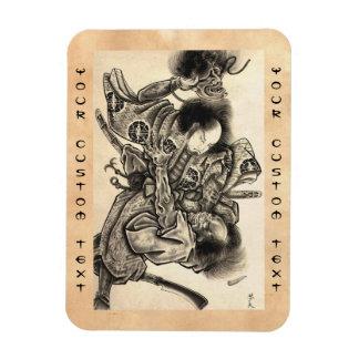 Cool classic vintage japanese samura demon fight magnet