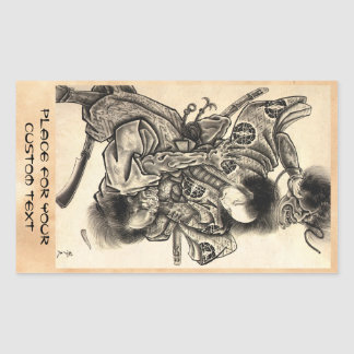 Cool classic vintage japanese samura demon fight rectangular sticker