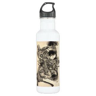 Cool classic vintage japanese samura demon fight stainless steel water bottle