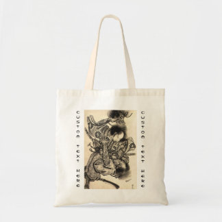 Cool classic vintage japanese samura demon fight tote bag