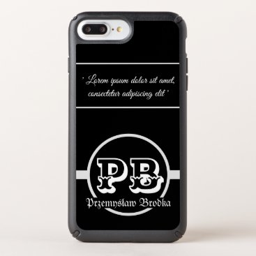 Cool classy black white duogram name dedication speck iPhone case
