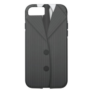 Cool Classy Dark Gray Pinstripe Suit and Tie iPhone 8/7 Case