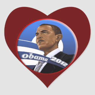 Cool Classy Sophisticated Obama 2012 Heart Sticker