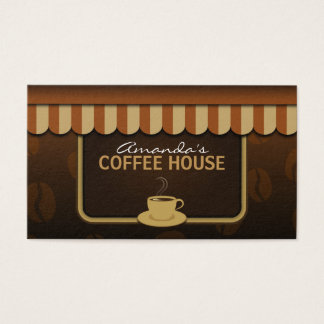 Cool Coffee Shop Brown and Beige Cafe Store Front Business Card