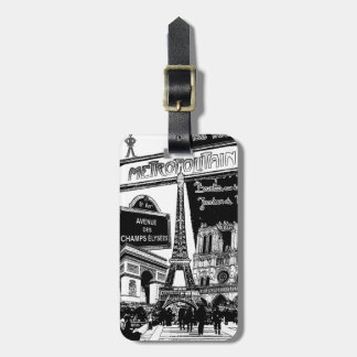 Cool Collage of Photo Illustrations of Paris Bag Tag
