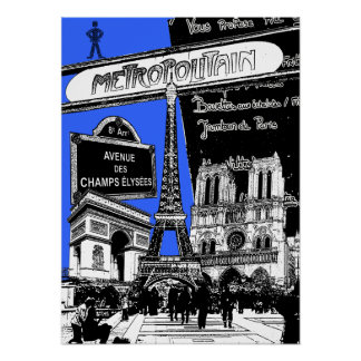 Cool Collage of Photo Illustrations of Paris Posters