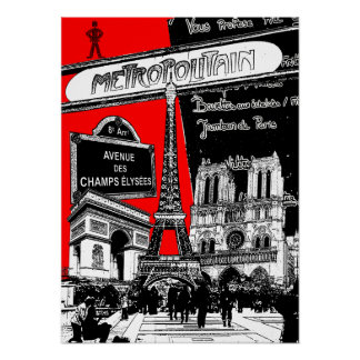 Cool Collage of Photo Illustrations of Paris Poster