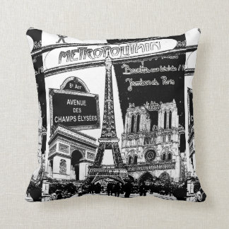 Cool Collage of Photo Illustrations of Paris Throw Pillow
