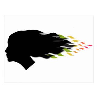 Cool color leaf hair postcard