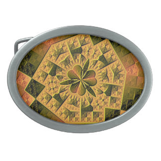 Cool colorful abstract pattern oval belt buckles