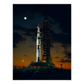 Cool Colorful Apollo Moon Mission at Launchpad Poster
