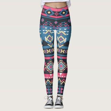 Aztec Themed Cool Colorful Aztec Geometric Tribal Pattern Leggings