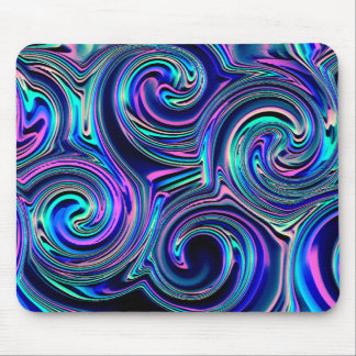 Cool Colorful Blue Turquoise Purple Spiral Pattern Mouse Pad