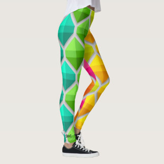 Cool Colorful Bold Geometric Hexagons Monogram Leggings