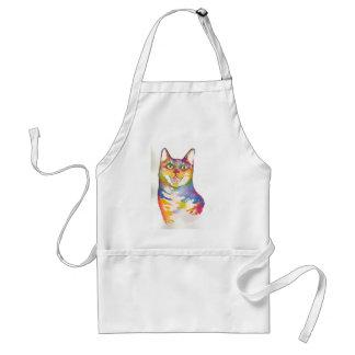 Cool colorful cat adult apron