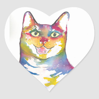 Cool colorful cat heart sticker